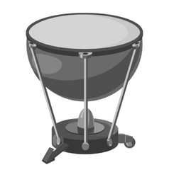 Percussion drum icon gray monochrome style vector