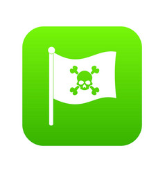 Pirate flag icon digital green vector