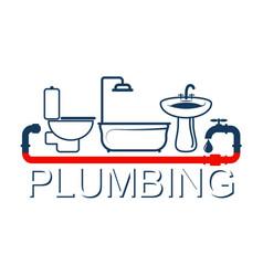 Plumbing service design symbol vector