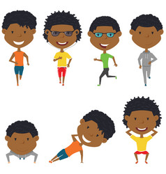running and work out african-american boys vector image