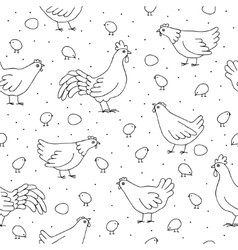 seamless pattern with chickens roosters vector image