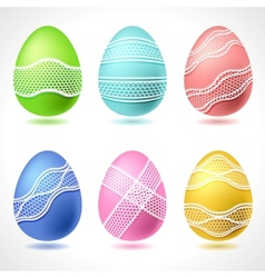 set 6 easter eggs with lace ribbon vector image