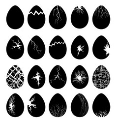 set egg silhouettes with crack vector image