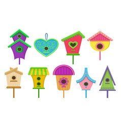 set of colorful birdhouses nesting boxes for vector image
