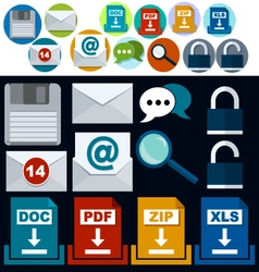 Set of flat icons mail and download the file vector image