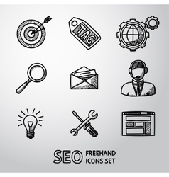 Set of SEO handdrawn icons - target with arrow vector