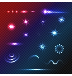 Set stars and sparkles effects for design vector