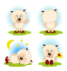 sheep in a variety of actions vector image vector image