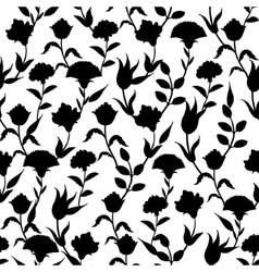 Silhouette Black White Turkish Flowers vector
