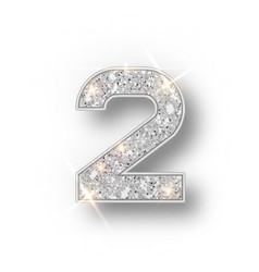 Silver glitter alphabet numbers 2 with shadow vector