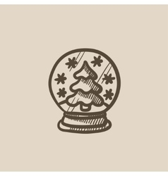 Snow globe with christmas tree sketch icon vector