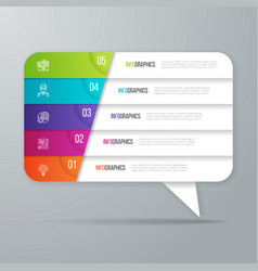 Speech bubble shaped infographic design 5 options vector
