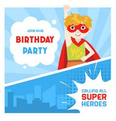 Superhero birthday party banner cute boy in vector