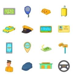 Taxi icons set cartoon style vector