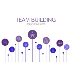 Team building infographic 10 steps template vector
