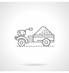 Tractor and trailer flat thin line icon vector