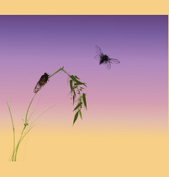 two cicadas and green bamboo branch on sunrise vector image