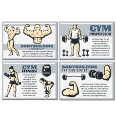 Vintage Body Building Banner Set vector