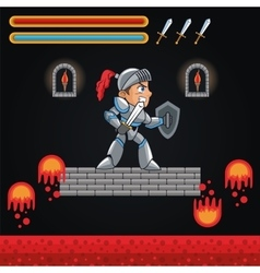 Warrior and videogame design vector