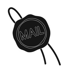 Wax sealmail and postman single icon in black vector