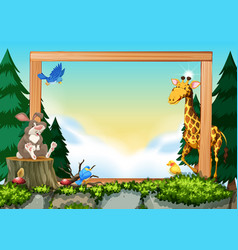 Wild animals on nature frame vector
