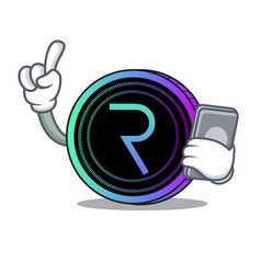 With phone request network coin character cartoon vector