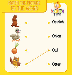 word to picture matching worksheet for children vector image