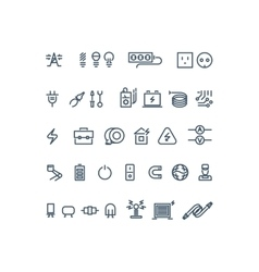 Electricity outline icons vector image vector image