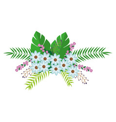 flowers bunch floral design with leaves vector image