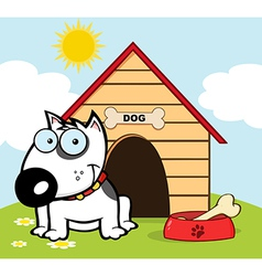 Happy White Bull Terrier vector image vector image