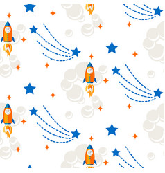 space rocket cartoon seamless pattern vector image vector image