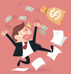 Frightened about paying a lot of bill vector image vector image