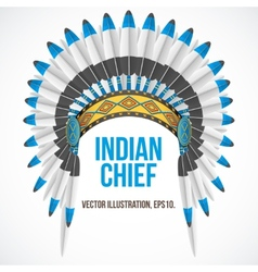 Indian chief hat with plumage Front view vector image