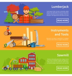 Sawmill timber flat banners vector