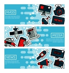 Set of Horizontal Banners about mass media vector image