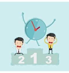 Time management concept win business man on podium vector image