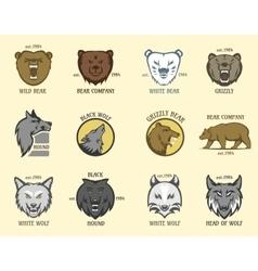 Bear and wolf head animal badge vector image vector image