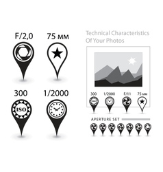 Characteristics of the photographs vector image vector image