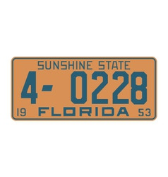 Florida1953 license plate vector image vector image