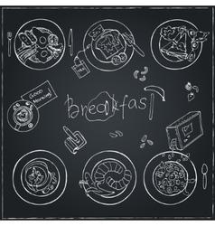 hand drawn breakfast set Vintage vector image vector image