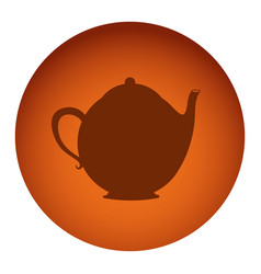 Orange color circular frame with silhouette tea vector