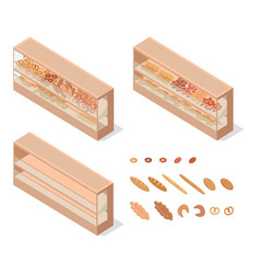 Pastries in groceries showcase isometric vector