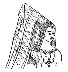 Steeple head-dress vintage engraving vector