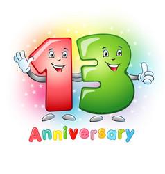 13 anniversary funny digits vector