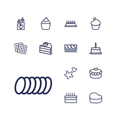 13 cake icons vector