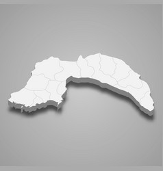 3d isometric map antalya is a province vector
