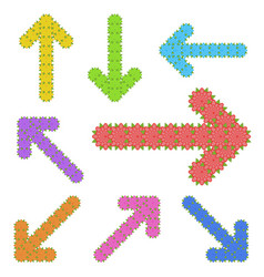a set of unusual arrows of bright color in the vector image