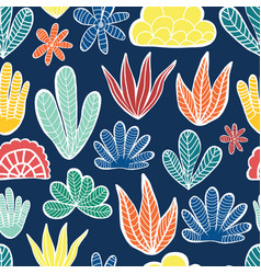 abstract plants summer collage seamless vector image