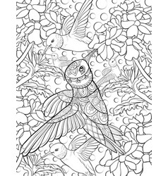Adult coloring bookpage a group of hummingbirds vector