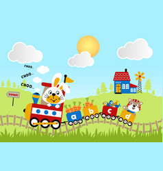 animals cartoon journey with train on landscape vector image